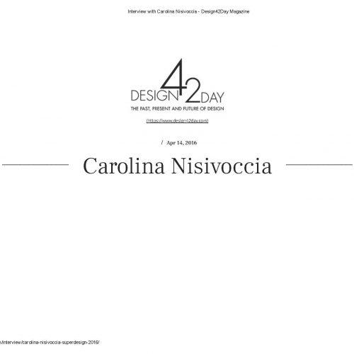 14 04 2016 Design42Day Magazine-Interview with Carolina Nisivoccia -_Pagina_1